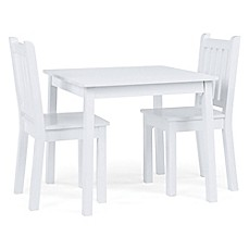 image of Tot Tutors 3-Piece Wooden Table and Chairs Set in White