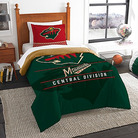 Buy nhl minnesota wild draft twin comforter set from bed for Wild bedding