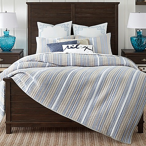 Image Of Coastal Living® Coastal Stripe Quilt Set