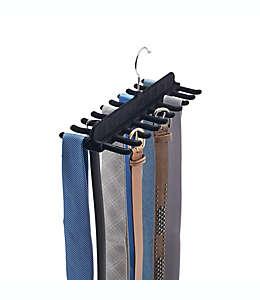 Gancho aterciopelado de plástico para corbatas y cinturones Real Simple color negro