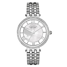 image of Caravelle New York Ladies' 34mm Crystal-Accented Mother of Pearl Watch in Stainless Steel