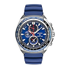 image of Seiko Men's 44.5mm Prospex World Time Solar Sport Chrono Watch in Stainless Steel with Blue Strap