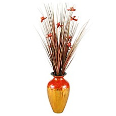 image of D&W Silks Artificial Orchid Blossom Arrangement with Red/Gold Lacquer Vase