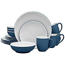 image of Noritake® ColorTrio Coupe 16-Piece Dinnerware Set in Blue