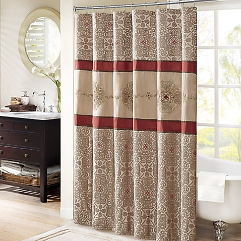 Buy madison park donovan 72 inch shower curtain in red - Madison park bathroom accessories ...