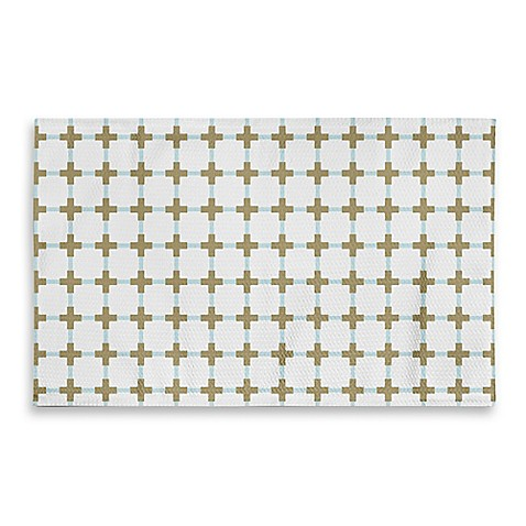 3 Foot X 5 Foot Cross Bathroom Rug In Gold White Bed