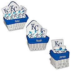 Personalized baby feeding spoons baby flatware cups bed bath designs by chad and jake mlb personalized kansas city royals baby gift basket negle Image collections
