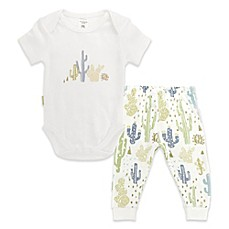 image of blue banana® Desert Cactus 2-Piece Bodysuit and Pant Set in White/Multicolor