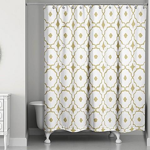 designs direct glam golden quatrefoil shower curtain bed