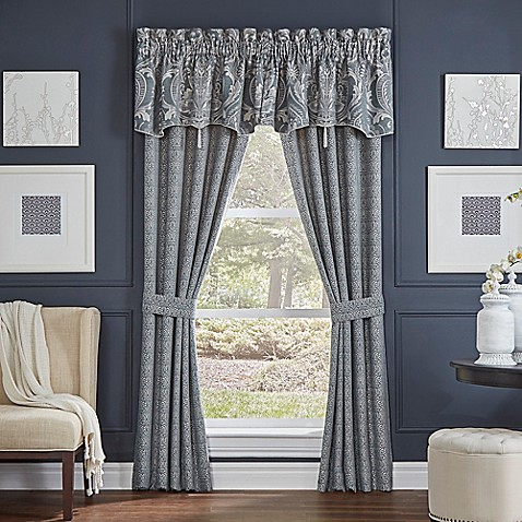 Croscill gabrijel window curtain panel pair and valance in slate blue bed bath beyond - Epic window treatment decoration with slate blue curtain ...