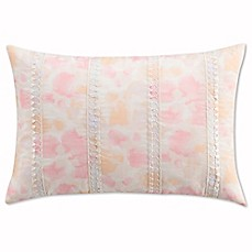 image of Cupcakes and Cashmere Painted Flowers Oblong Throw Pillow in Pink/Yellow