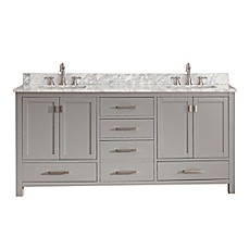 image of Avanity Modero 73-Inch Double Vanity in Grey with Carrera White Marble Top