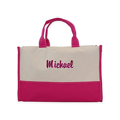 Buy CB Station 12-Inch Vivera Tote in Natural/Hot Pink from Bed Bath & Beyond