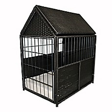 image of Iconic Pet Rattan Pet Crate with Storage in Brown/Sand