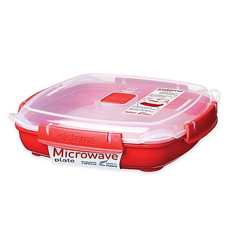 Large Microwave Plate In Red