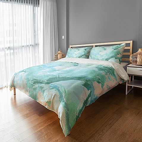 buy marble watercolor king duvet cover in blue white from bed bath beyond. Black Bedroom Furniture Sets. Home Design Ideas
