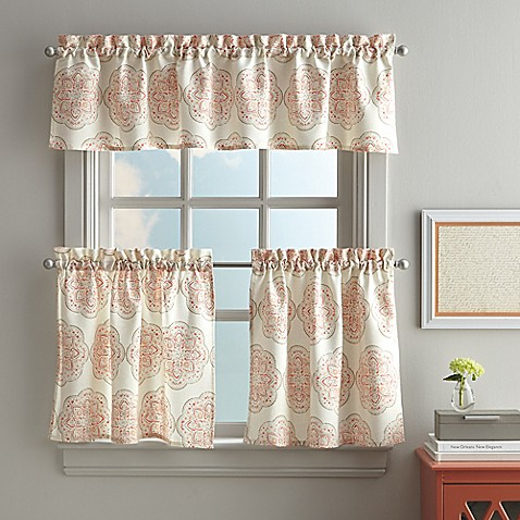 Namaste kitchen window curtain tier and valance in coral bed bath beyond for Kitchen and bathroom curtains