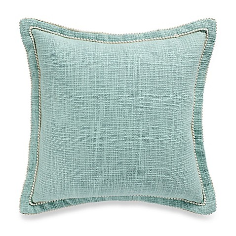 Buy Danielle Cotton Square Throw Pillow in Spa Blue from Bed Bath & Beyond