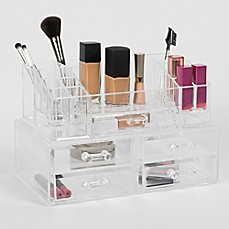 image of Cosmetique Large 2-Piece 5-Drawer Cosmetique Set Clear