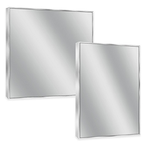 Spectrum rectangular framed wall mirror in brushed nickel bed bath beyond for Bathroom mirrors brushed nickel