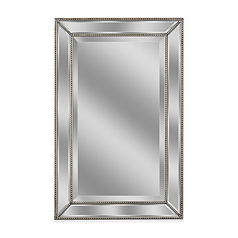 Metro 2 foot x 3 foot beaded mirror in silver bed bath for 7 foot mirror