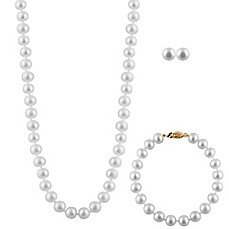 image of Splendid Pearls 8mm Freshwater Cultured Pearl 18-Inch Necklace, Earrings and Bracelet Set