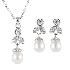 image of Splendid Pearls Sterling Silver Freshwater Cultured Pearl/Cubic Zirconia Necklace and Earring Set