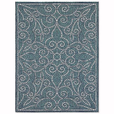 Mosaic Tile Indoor Outdoor Area Rug in Blue Bed Bath