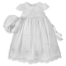 image of Girl's Long Christening Dress with Floral Embroidery by Lauren Madison