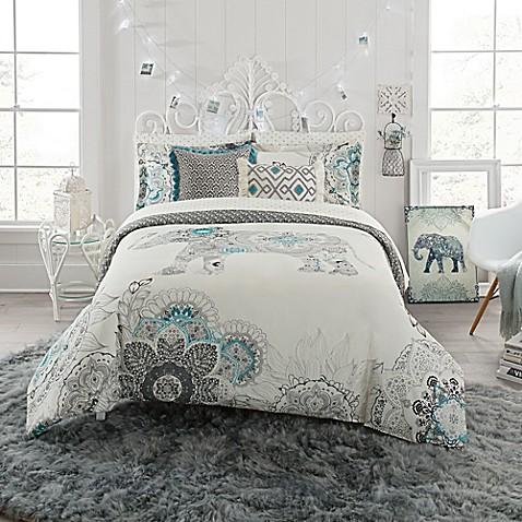 Anthology Kiran Reversible Comforter Set In White Grey