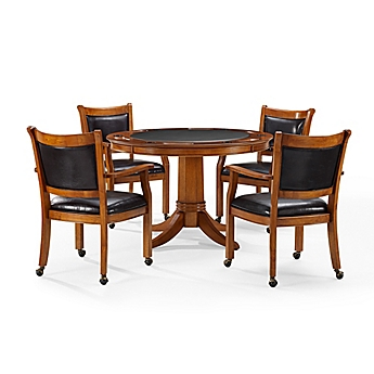 Image Of Crosley Reynolds Dutch Colonial 5 Piece Game Table Set In Caramel
