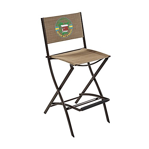 Margaritaville 174 Outdoor Sling Folding Bar Stool In Brown