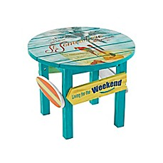 Captivating Image Of Margaritaville® Outdoor Classic Wood Round Side Table In Blue