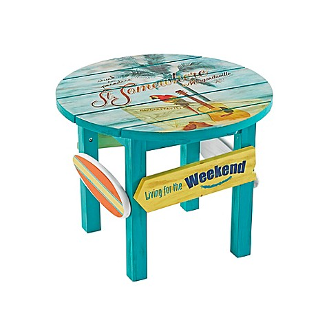 Marvelous Image Of Margaritaville® Outdoor Classic Wood Round Side Table In Blue