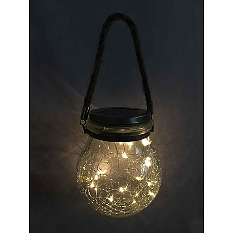 Great Solar Hanging Outdoor Cracked Glass Led Jar Lantern