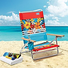 image of 5-Position Beach Chair with Cup Holder in Orange/Blue