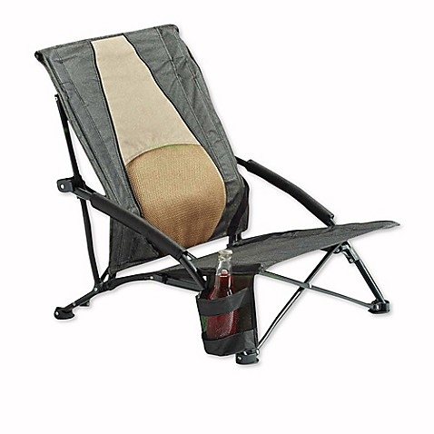 Outdoor Chair With Lumbar Support In Black Khaki Bed