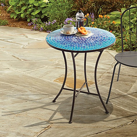 image of outdoor mosaic bistro table in blue - Outdoor Accent Tables
