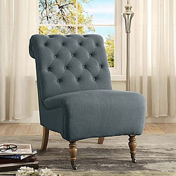 image of cora linen roll back tufted chair