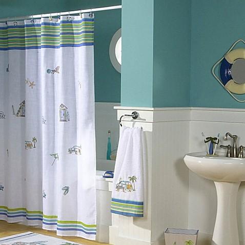 Croscillu00ae Ocean Surf 70Inch x 75Inch Fabric Shower Curtain  BedBathandBeyond.com