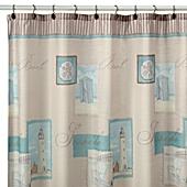 Marvelous Coastal Collage Fabric Shower Curtain