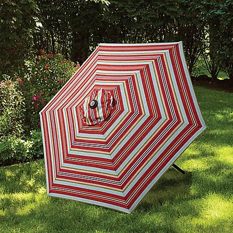 7 5 Foot Round Canopy Umbrella In Atlantic Stripe Bed