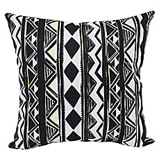 image of Aztec Stripe Square Outdoor Throw Pillows in Black (Set of 2)