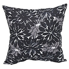 image of Verano Floral Outdoor Square Throw Pillows in Black (Set of 2)