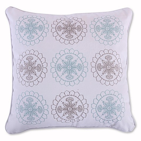 Levtex Home Amelie Embroidered Throw Pillow in Blue/Grey - Bed Bath & Beyond