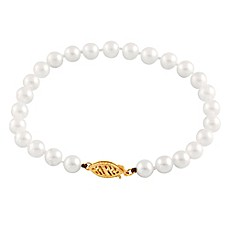 image of Splendid Pearls Akoya Pearl 7.25-Inch Strand Bracelet with 14K Gold Clasp