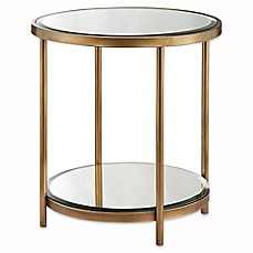 image of Madison Park Cole End Table in Mirror/Bronze