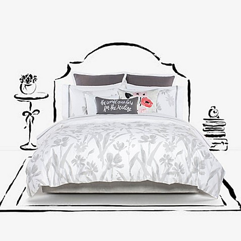 Kate spade new york brushstroke garden duvet cover set for Bed bath and beyond kate spade