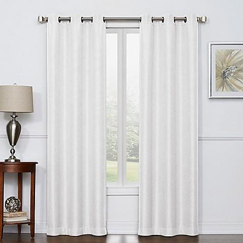 buy camryn 84 inch room darkening grommet top window curtain panel pair in white from bed bath. Black Bedroom Furniture Sets. Home Design Ideas