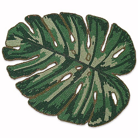 Buy Palm Leaf Beaded Placemat In Green From Bed Bath Amp Beyond